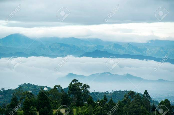 Beautiful Aerial Scenery Of Misty Morning Covered Bandung Cityscape Stock Photo Picture And Royalty Free Image Image 117518278