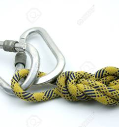 single figure 8 on a bight tied on a yellow rope and master lock stock photo [ 1300 x 870 Pixel ]