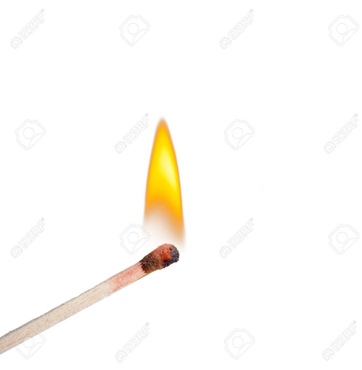 burning match on a
