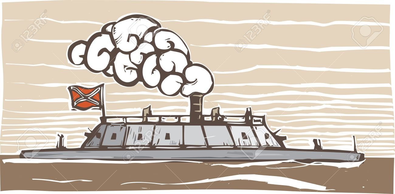 hight resolution of vector woodcut style image of the confederate civil war ironclad warship virginia