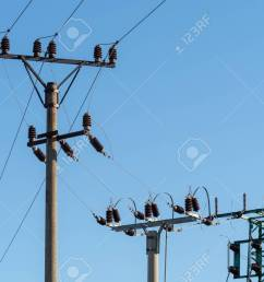 electric column and wires of high voltage on blue sky background stock photo 112606752 [ 1300 x 866 Pixel ]