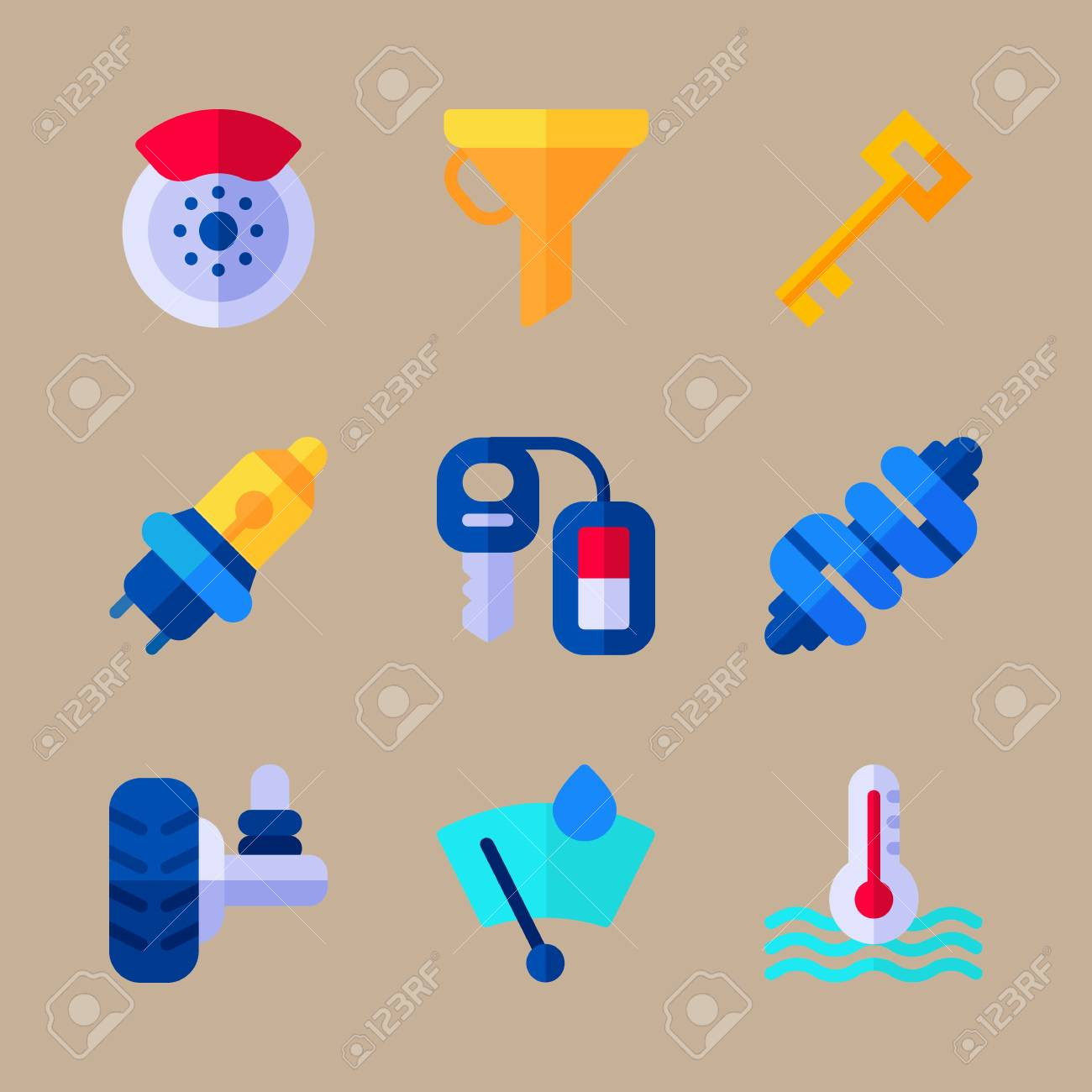 hight resolution of icon set about car engine with drop of rain heat and brake stock vector
