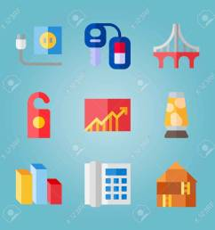 icon set about real assets with lamp chart and car key stock vector  [ 1300 x 1300 Pixel ]