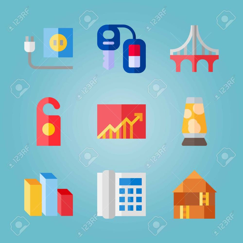 medium resolution of icon set about real assets with lamp chart and car key stock vector