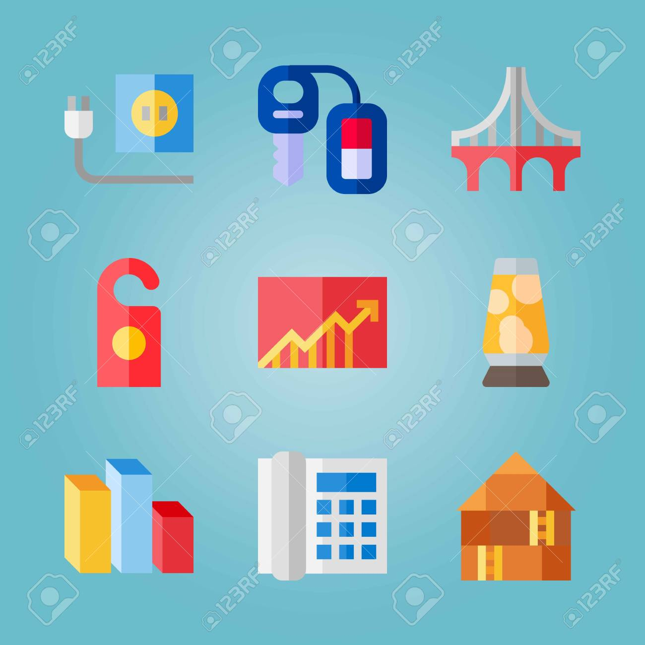 hight resolution of icon set about real assets with lamp chart and car key stock vector