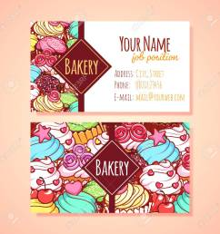 two horizontal business card template for pastry shop clip art illustration stock vector 49040285 [ 1300 x 1300 Pixel ]