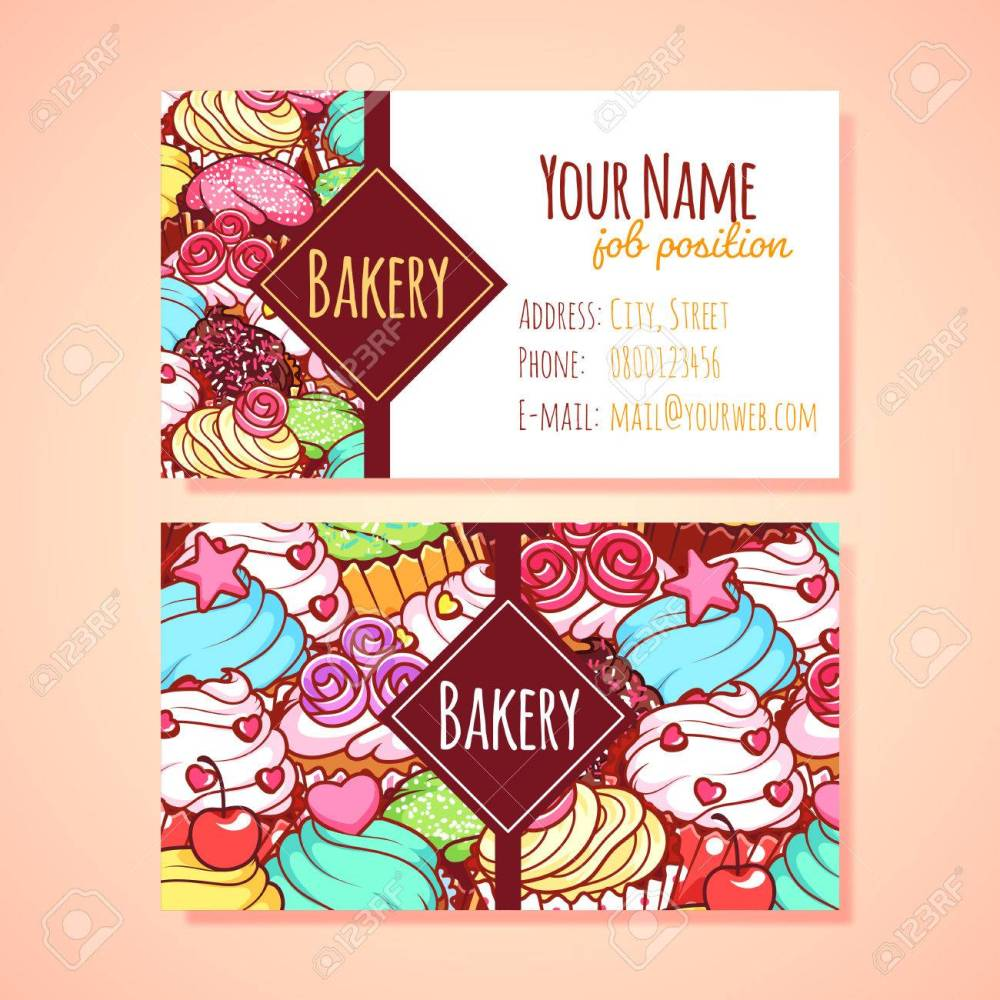medium resolution of two horizontal business card template for pastry shop clip art illustration stock vector 49040285