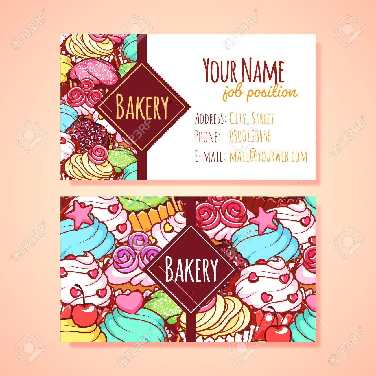 hight resolution of two horizontal business card template for pastry shop clip art illustration stock vector 49040285