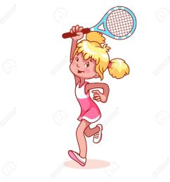 cartoon girl playing tennis clip art illustration on a white background stock vector  [ 1300 x 1300 Pixel ]