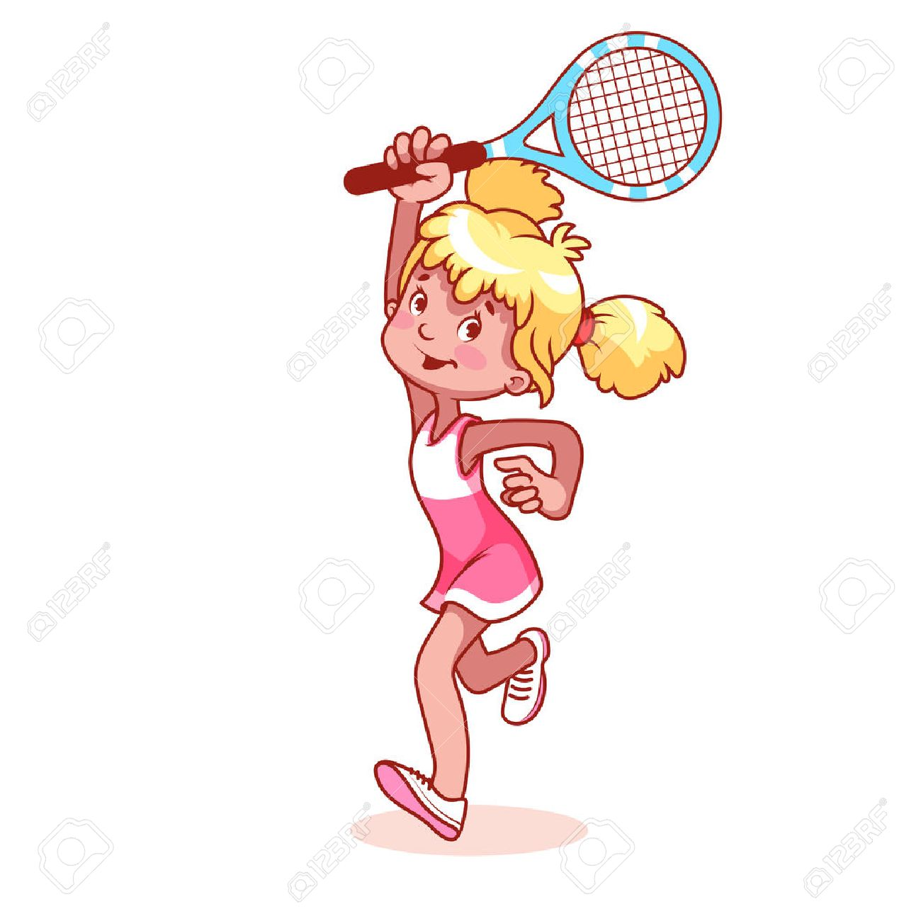 hight resolution of cartoon girl playing tennis clip art illustration on a white background stock vector