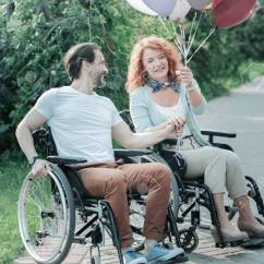 Wheelchair Express Butterflies And Bows Chair Covers Positivity Handsome Bearded Man Sitting On His Touching Hands With Girlfriend