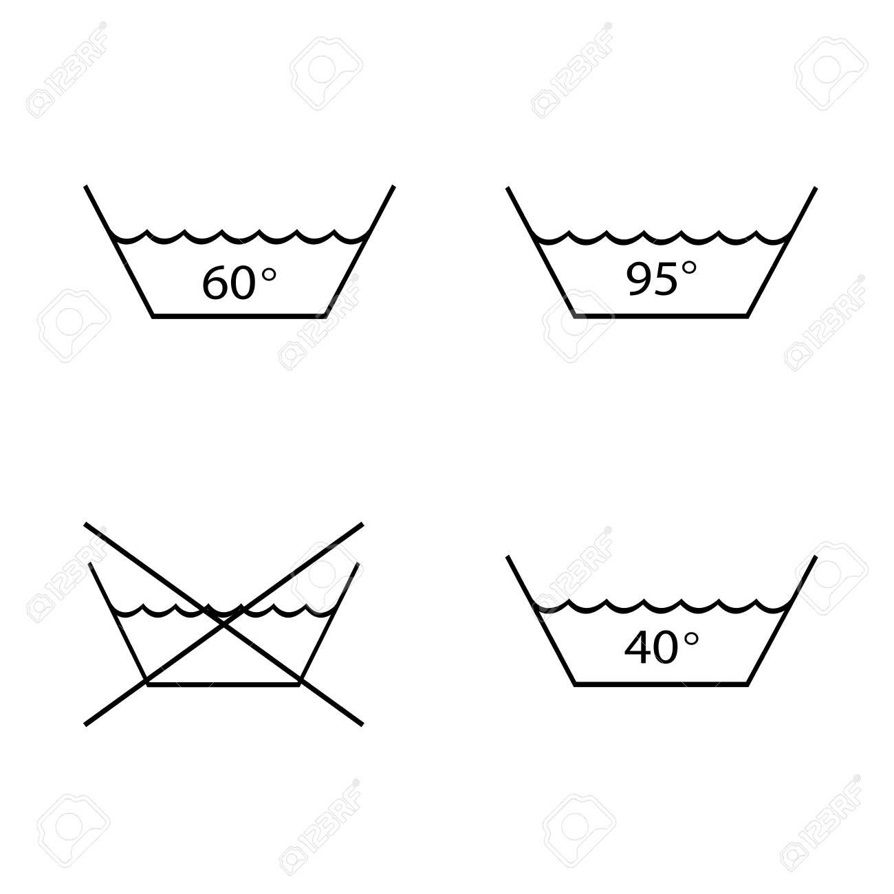 hight resolution of foto de archivo warning mark care for washing and boil textile tissue garment set symbol sign for label vector illustration