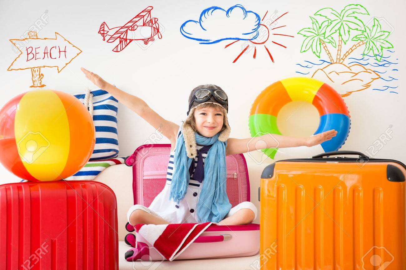 Happy Child Ready For A Summer Vacation Kid Having Fun At Home Stock Photo Picture And Royalty Free Image Image 54980261