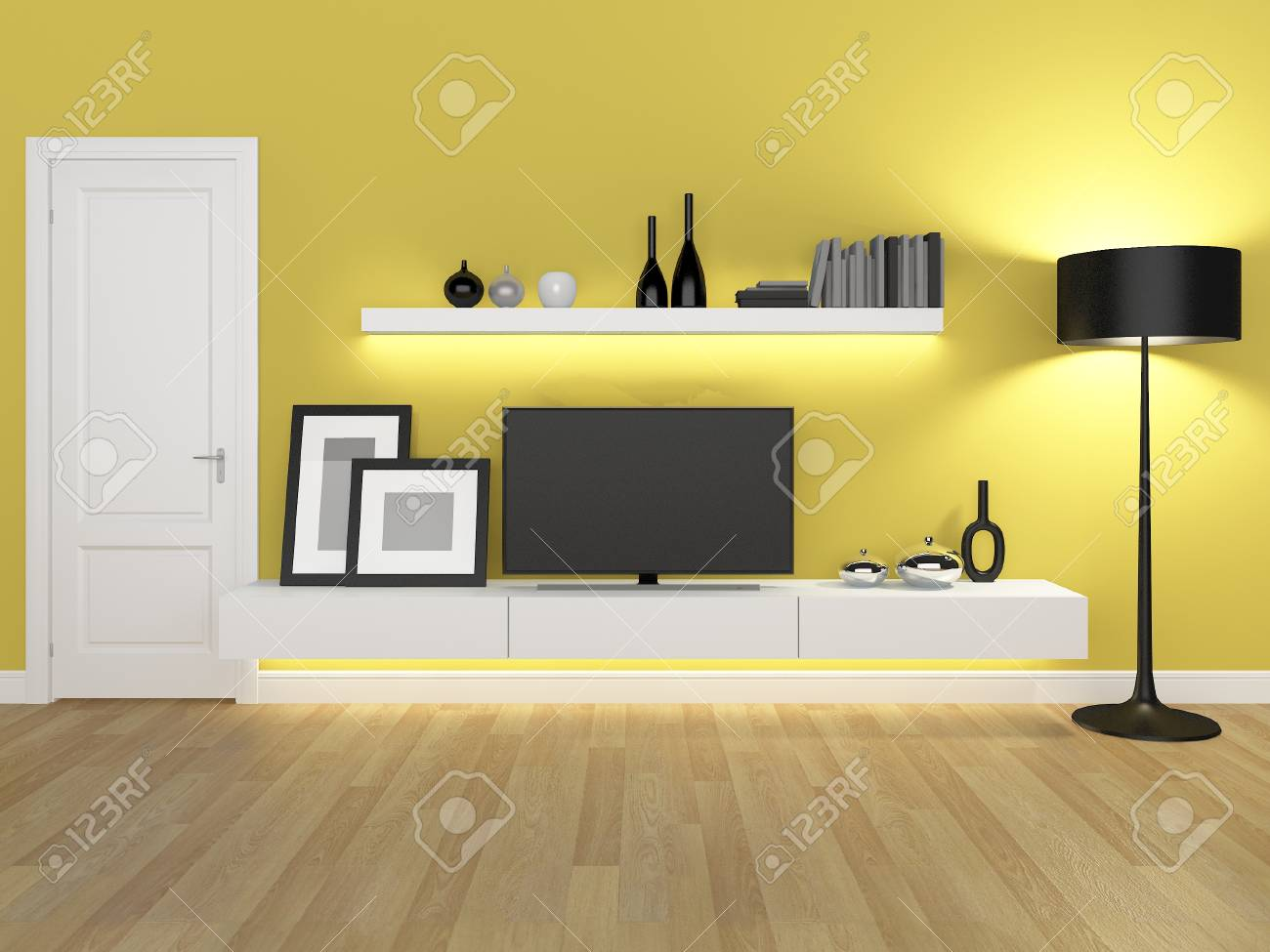 Yellow Living Room With Tv Stand And Bookcase Rendering