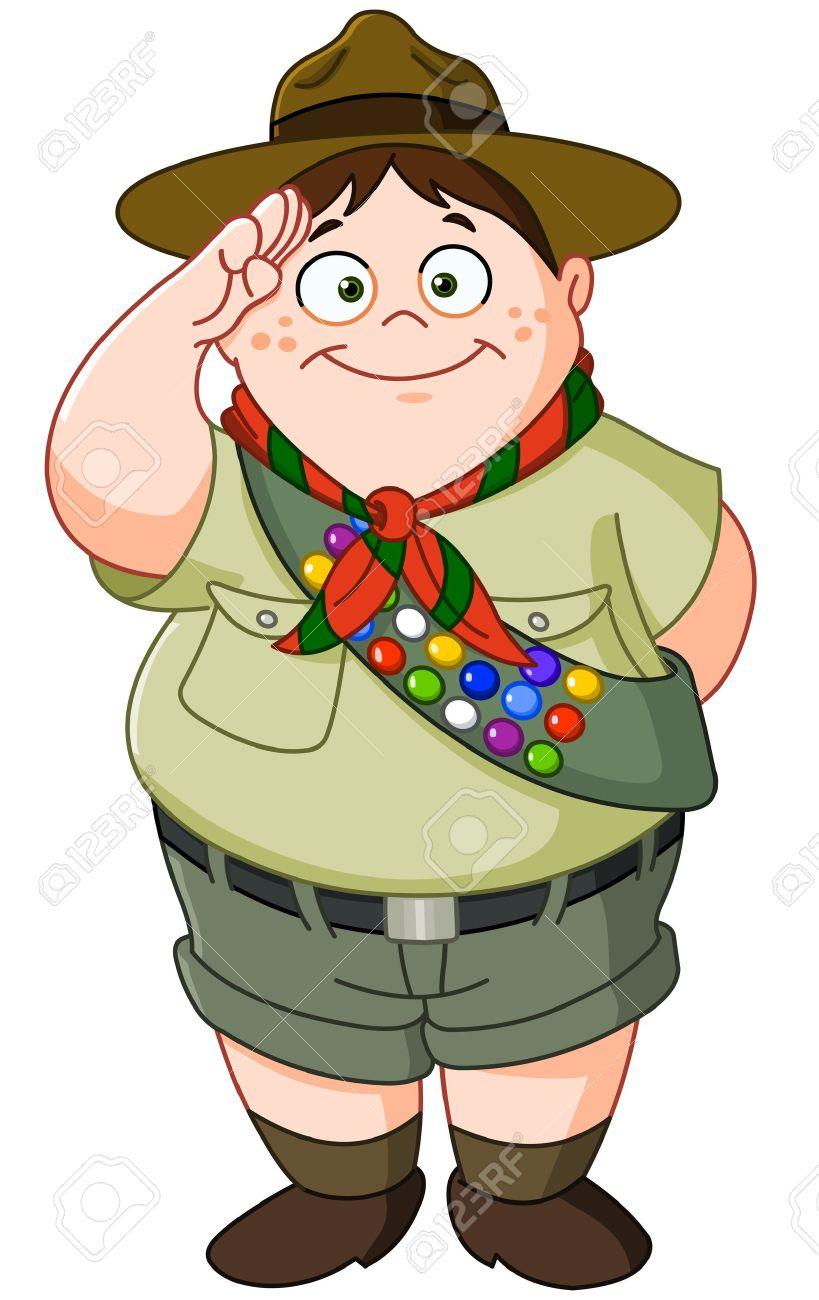medium resolution of happy boy scout saluting stock vector 19017754