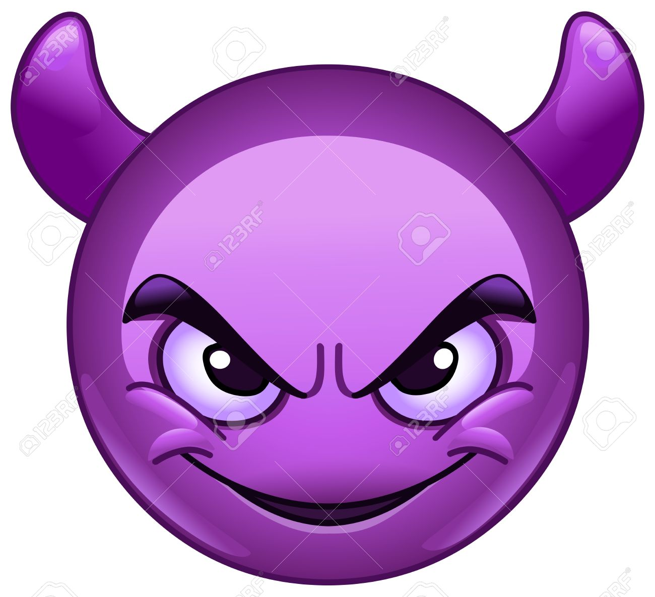 Smiling Face With Horns Purple Devil Emoticon Stock Photo Picture And Royalty Free Image Image 59131632