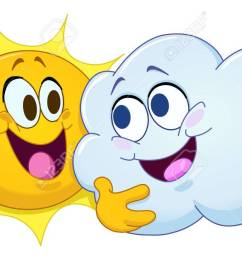 happy sun and cloud hugging each other partly cloudy stock vector 63397272 [ 1300 x 729 Pixel ]