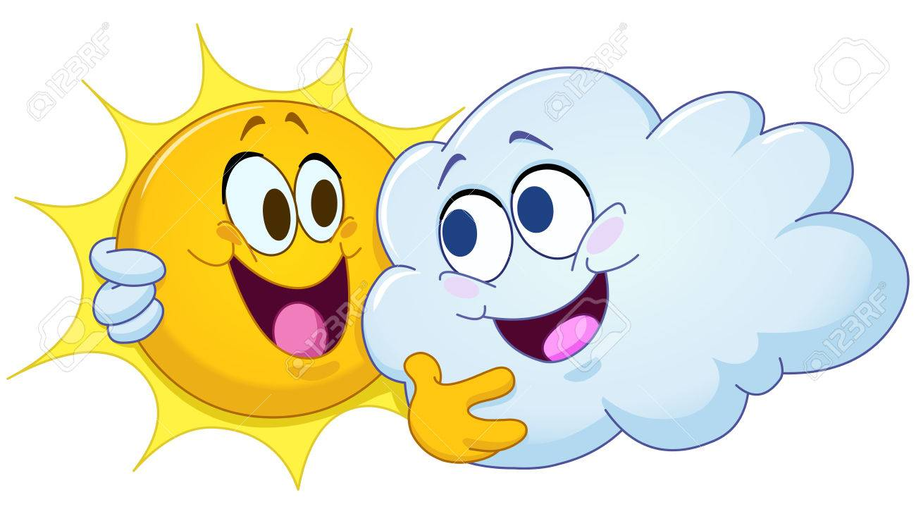 hight resolution of happy sun and cloud hugging each other partly cloudy stock vector 63397272