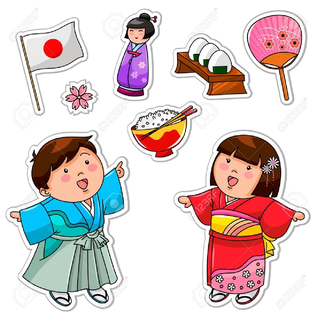 hight resolution of set of japanese children and symbols stock vector 16511402