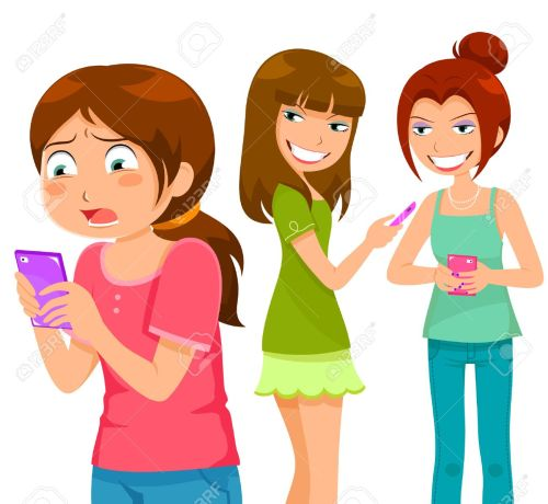 small resolution of girl being bullying by her peers through mobile phone