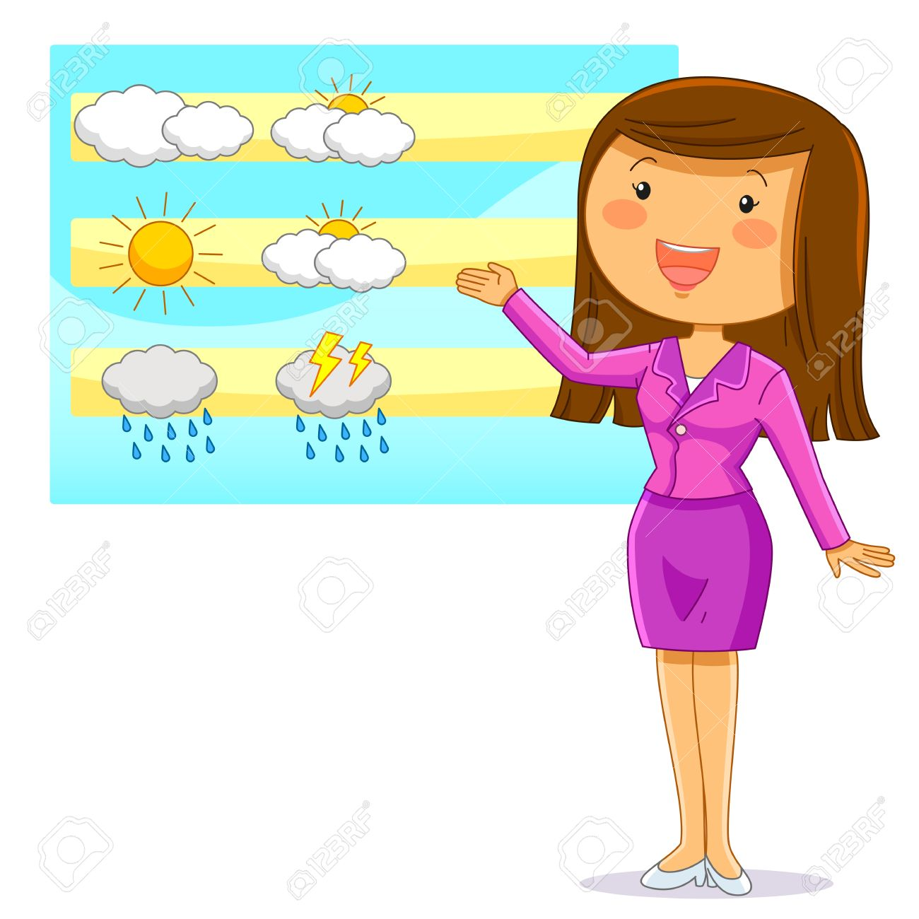 hight resolution of female weather reporter presenting the weather forecast stock vector 29611005