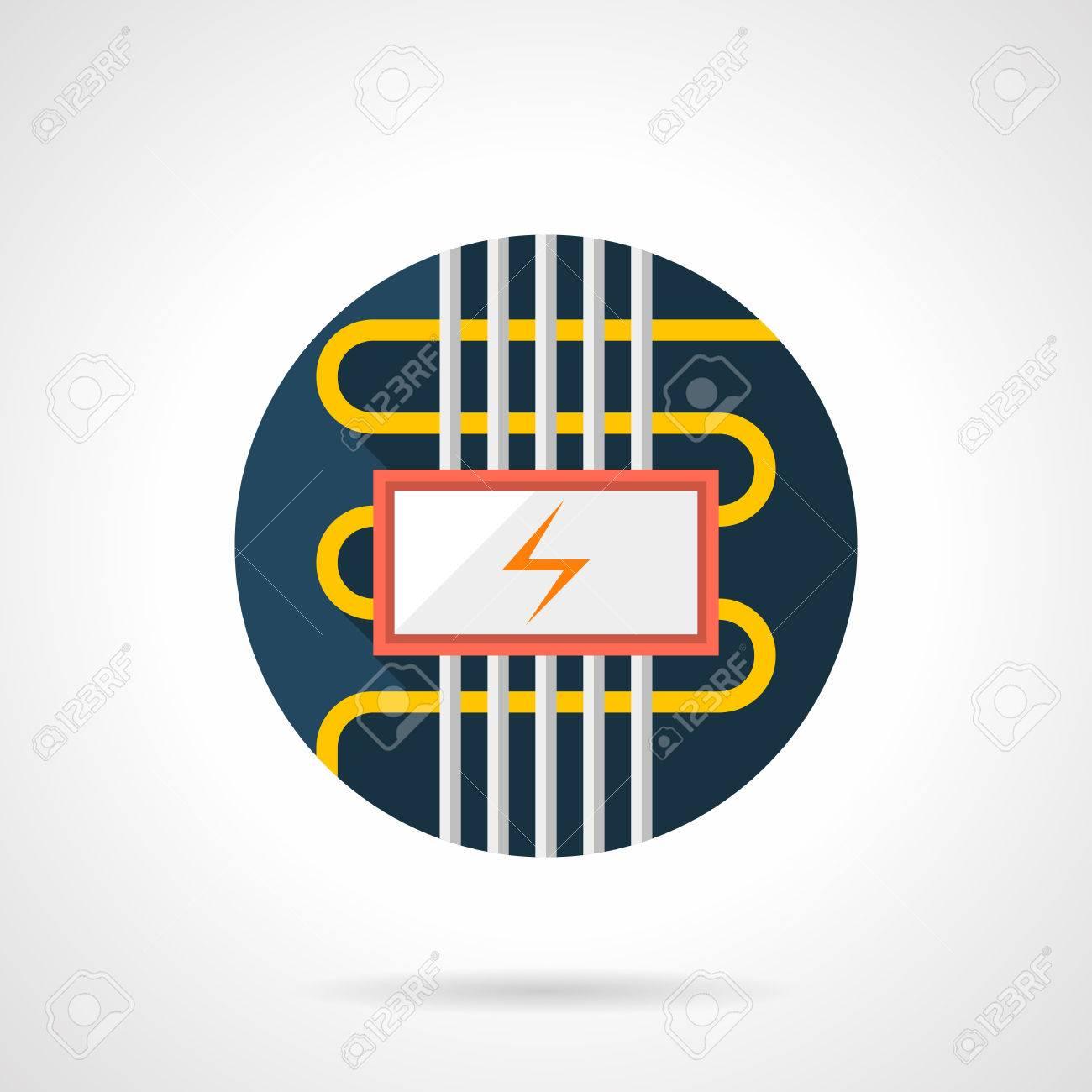 Kabel Elektrische Fußbodenheizung Symbol. Installieren Von Diensten