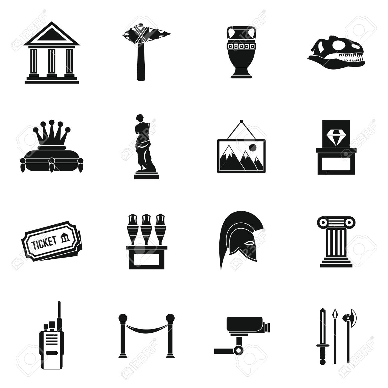 museum icons set in