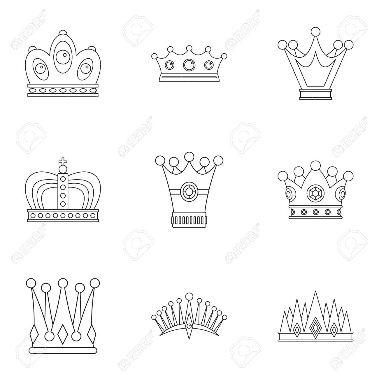 antique crown icon set