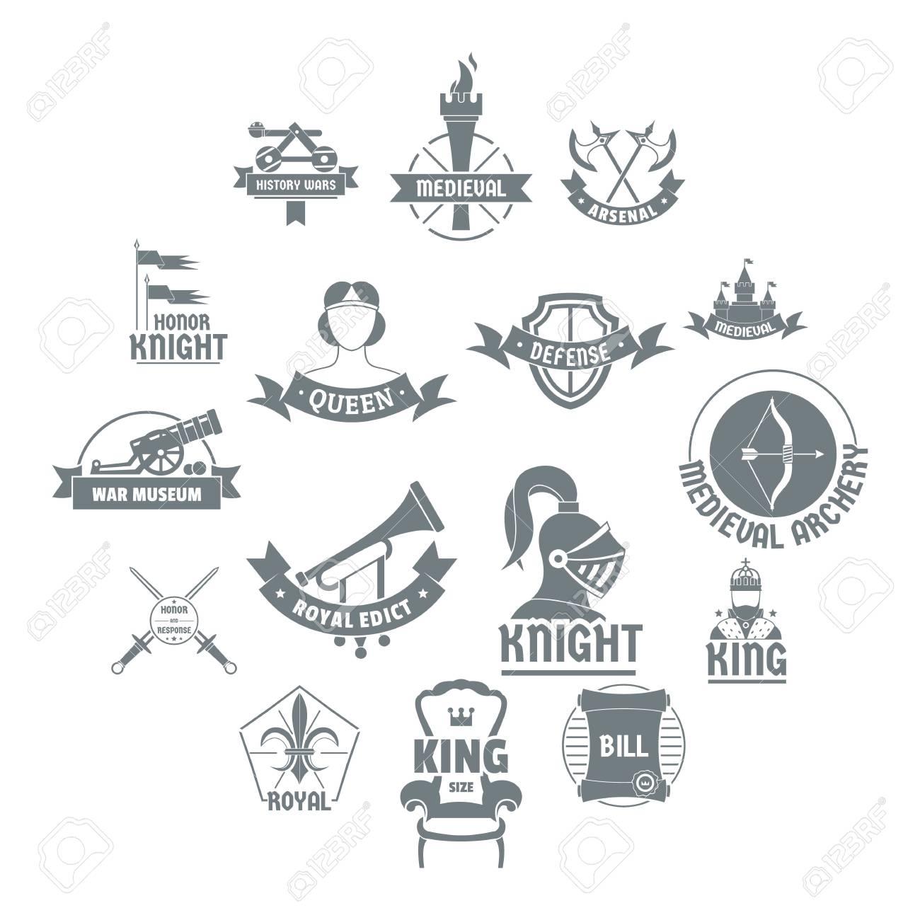 knight medieval logo icons set simple illustration of 16 knight