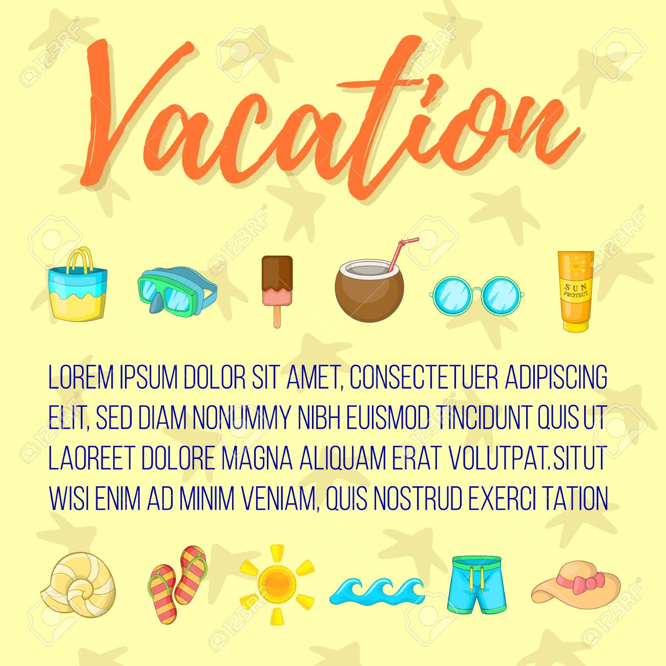 Vacation Postcard Background Concept Cartoon Postcard Of Vacation Royalty Free Cliparts Vectors And Stock Illustration Image 112300401