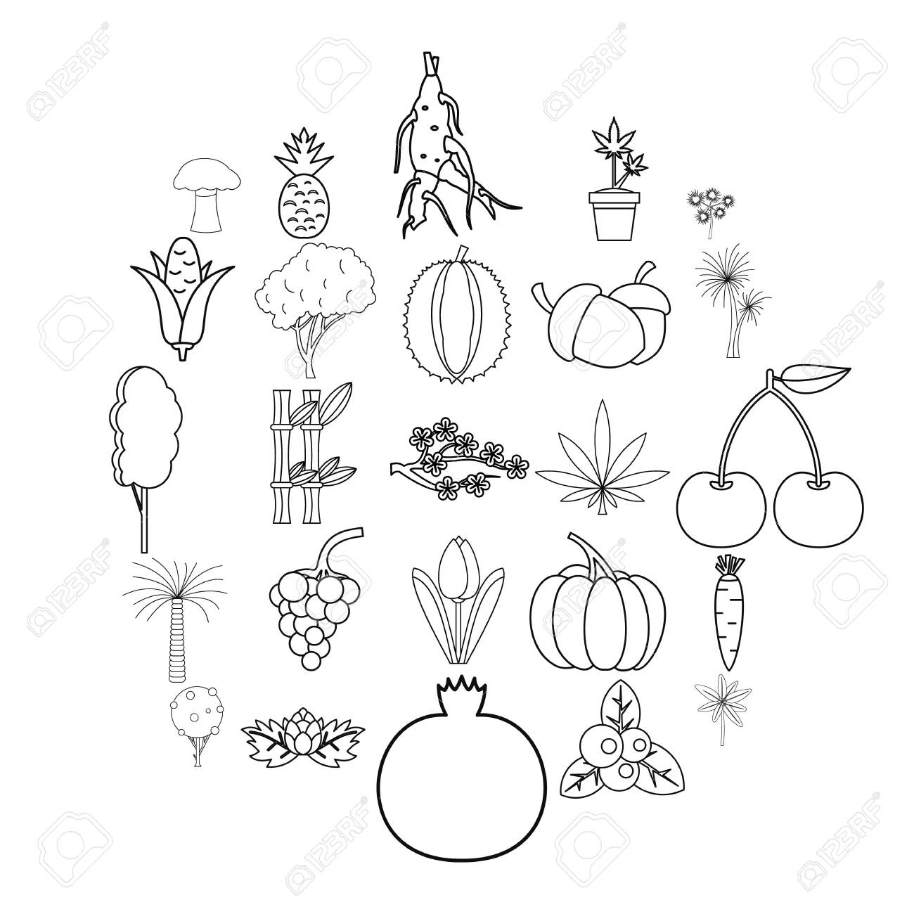 Nicepng provides large related hd transparent png images. Forest Plants Icons Set Outline Set Of 25 Forest Plants Vector Icons For Web Isolated On White Background Royalty Free Cliparts Vectors And Stock Illustration Image 124521225