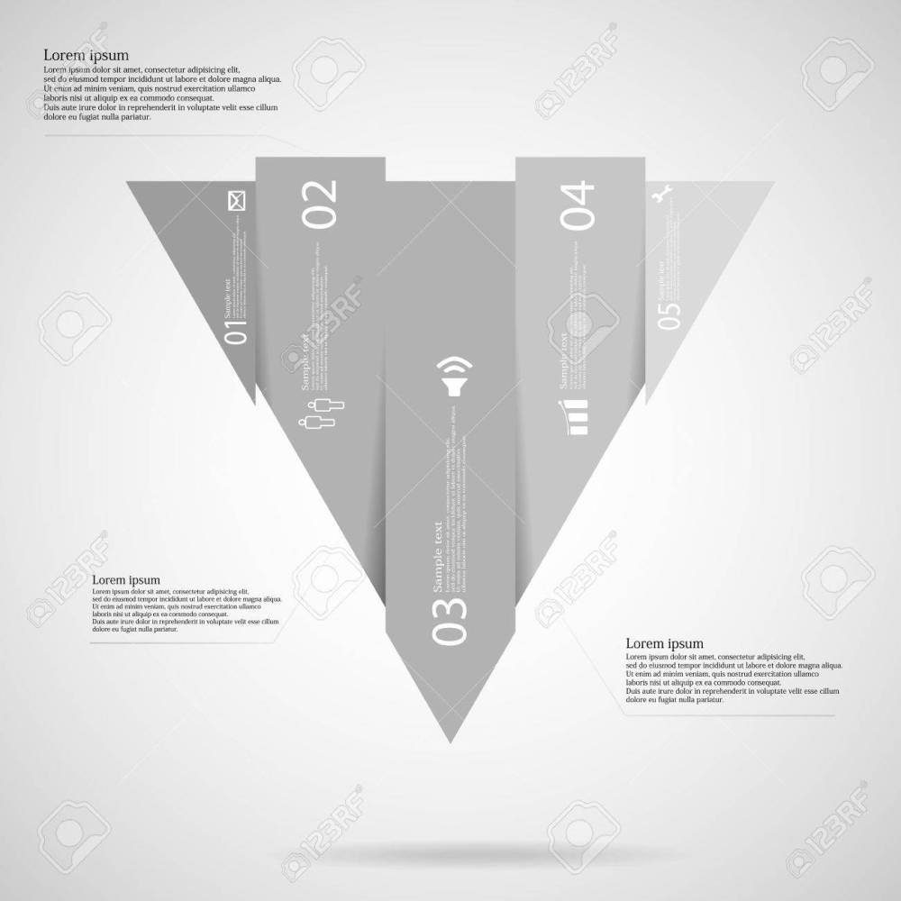 medium resolution of illustration infographic template with triangle shape vertically divided to five grey scale parts each part
