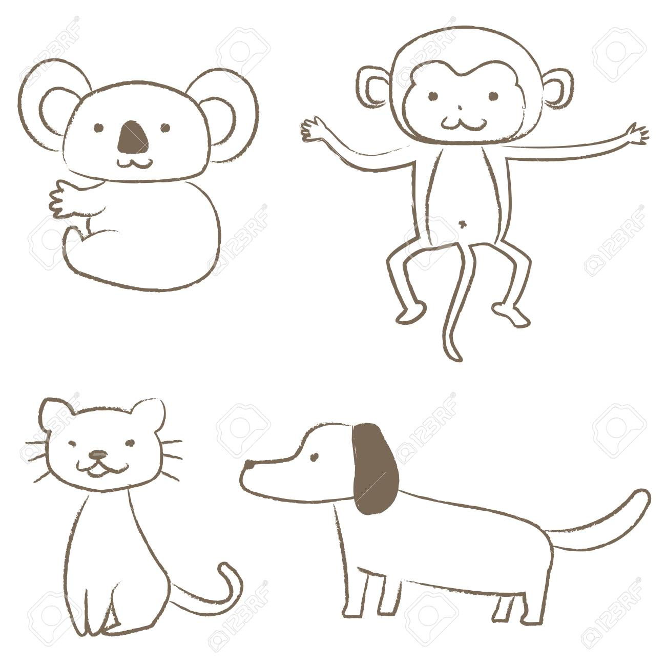 four animals drawn with