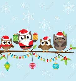 christmas card with family of cute owls stock vector 48520045 [ 1300 x 1300 Pixel ]