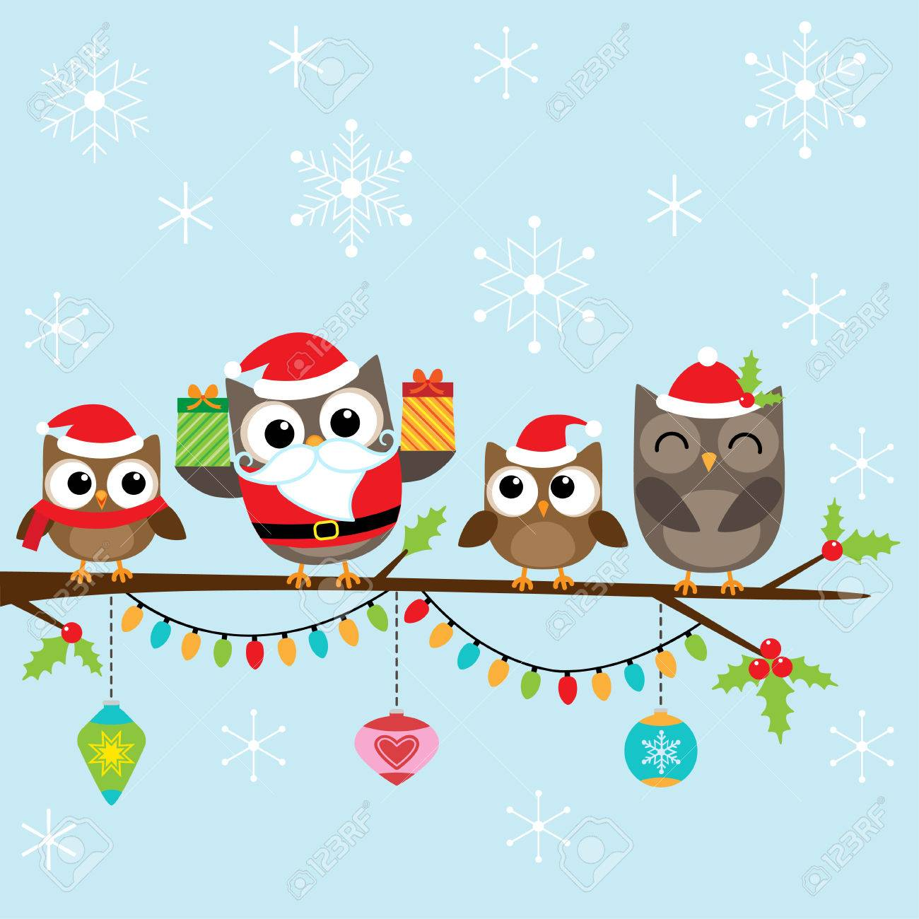 hight resolution of christmas card with family of cute owls stock vector 48520045