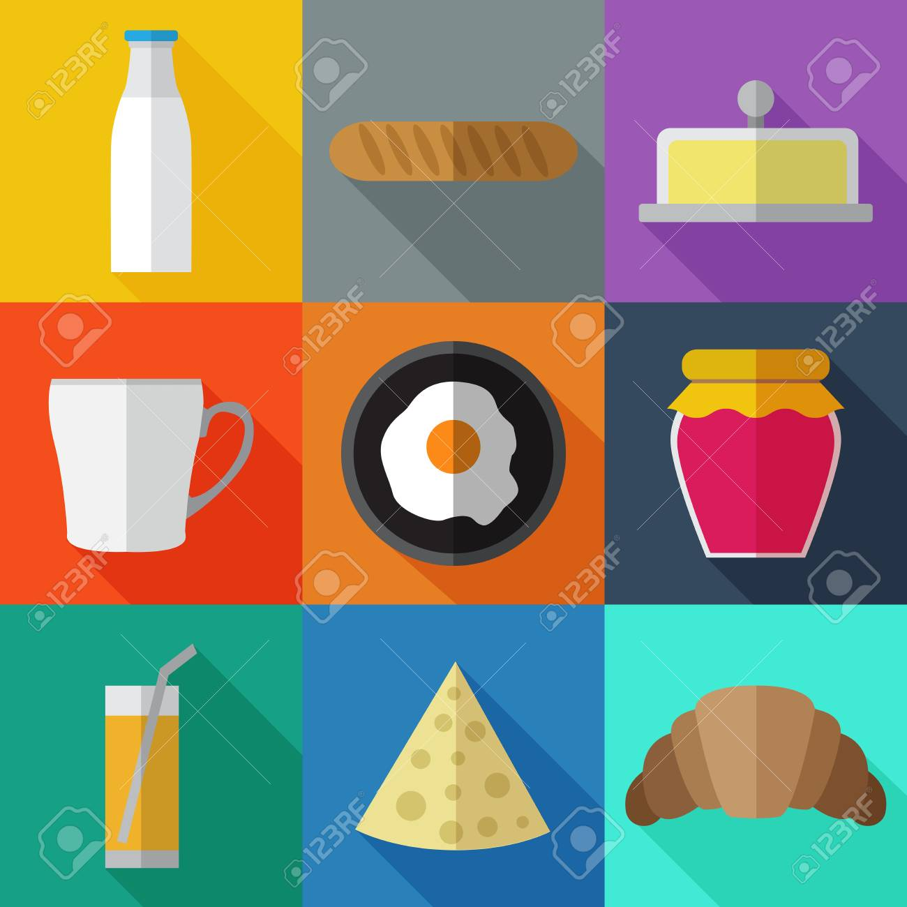 set of simple breakfast food icons flat on color squares royalty free cliparts vectors and stock illustration image 75001355