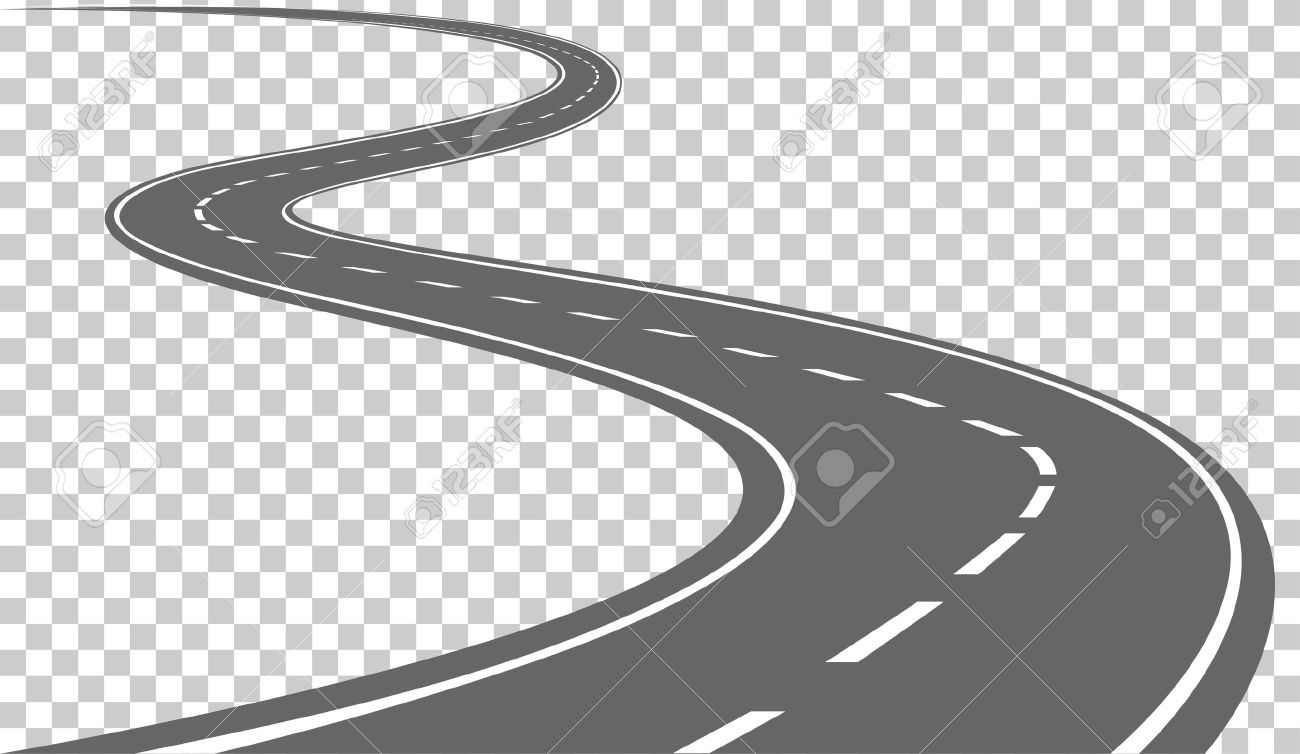hight resolution of curved road with white markings vector illustration stock vector 48452618