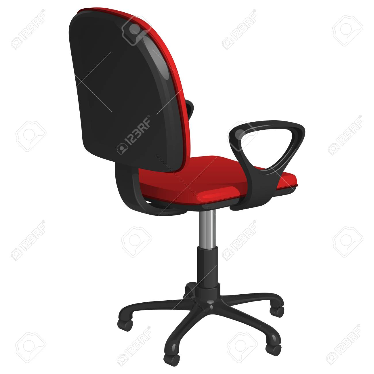 Pedestal Chair Office Swivel Chair On A Pedestal With Wheels With Red Upholstery
