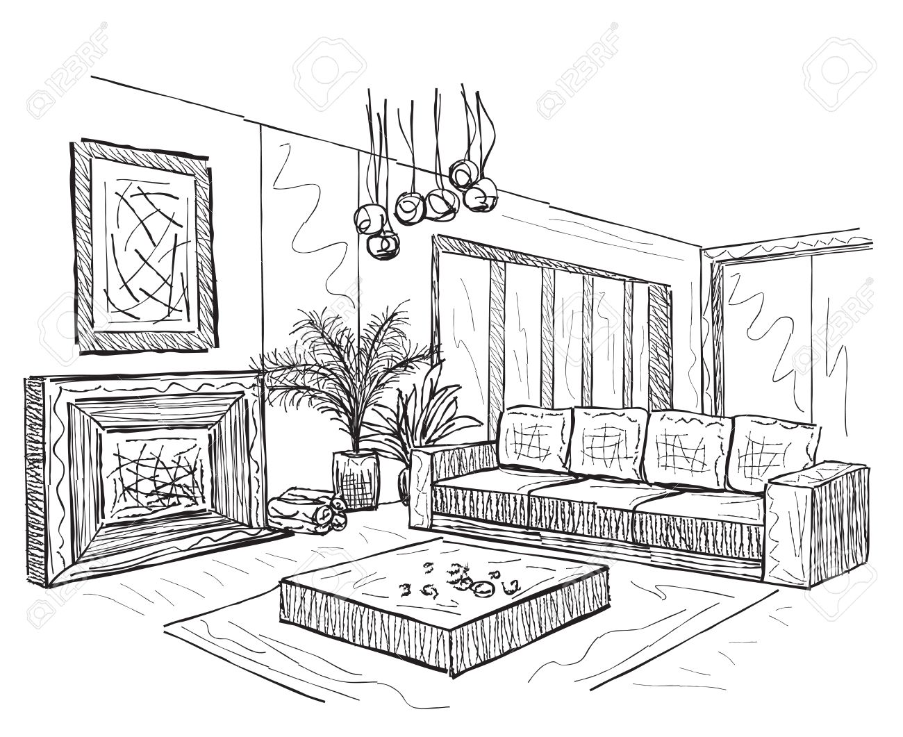 Room Interior Sketch Hand Drawn Furniture In Living Room Royalty Free Cliparts Vectors And Stock Illustration Image 49238402
