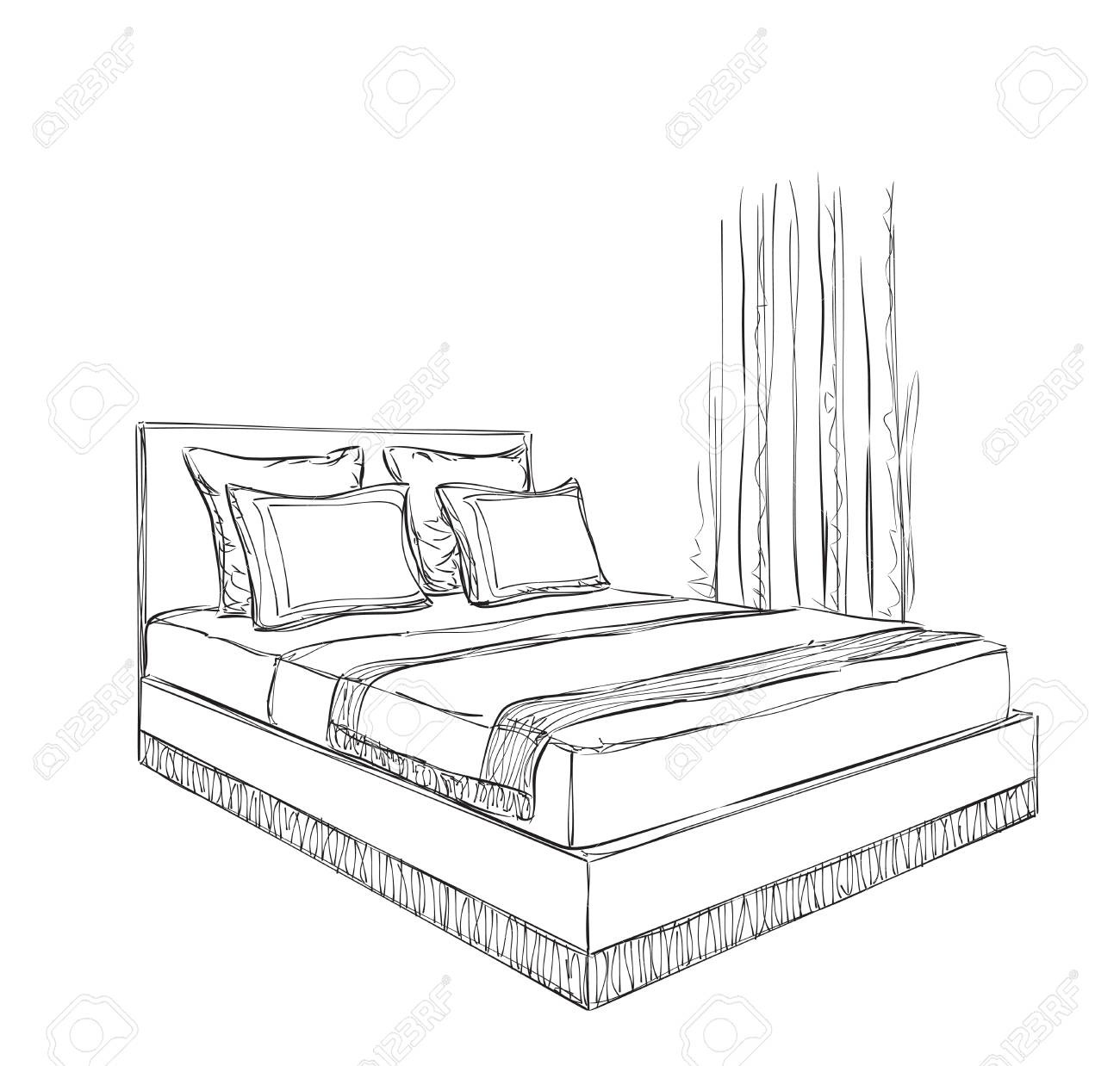 Interior Design Of The Classic Bedroom With Double Bed Royalty Free Cliparts Vectors And Stock Illustration Image 57445338
