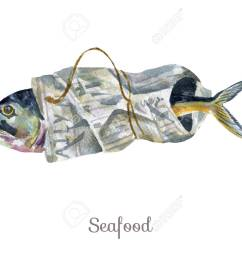 stock photo watercolor seafood clipart fish [ 1300 x 1011 Pixel ]
