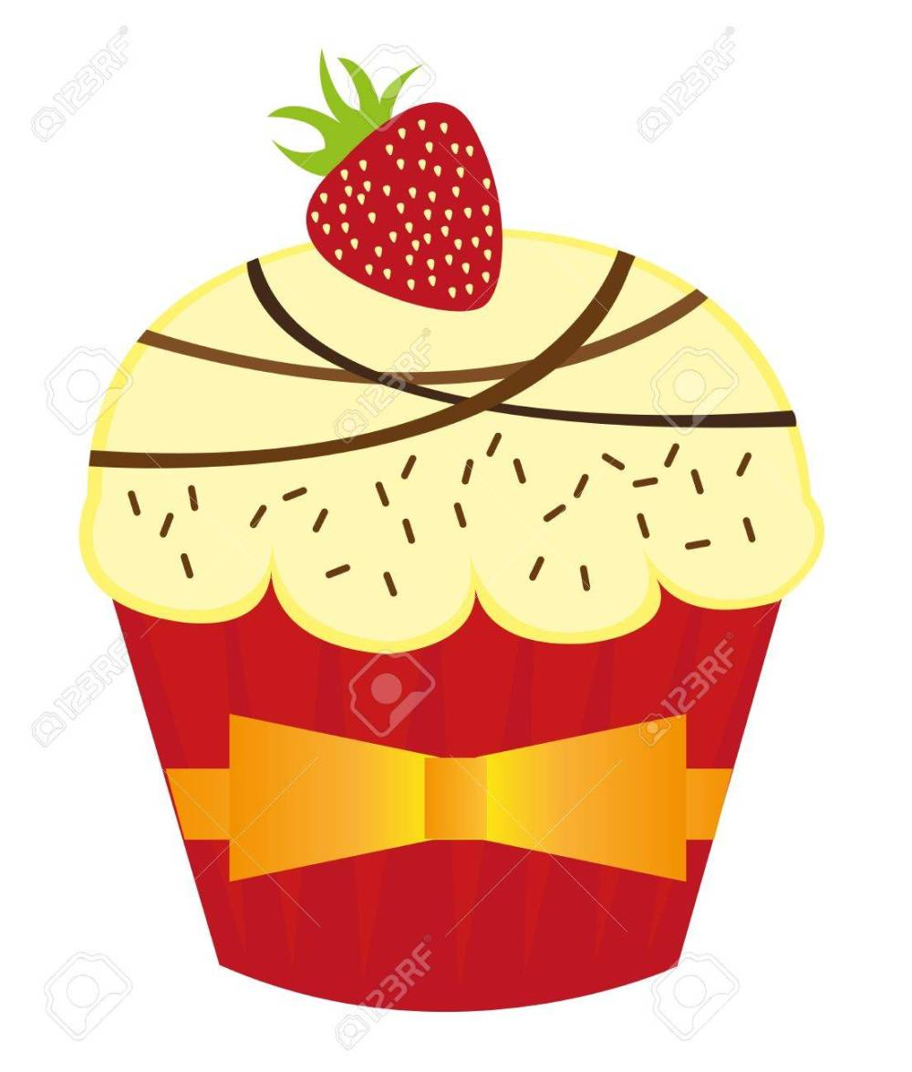 medium resolution of stockfoto vanilla cup cakes with strawberry over white background vector
