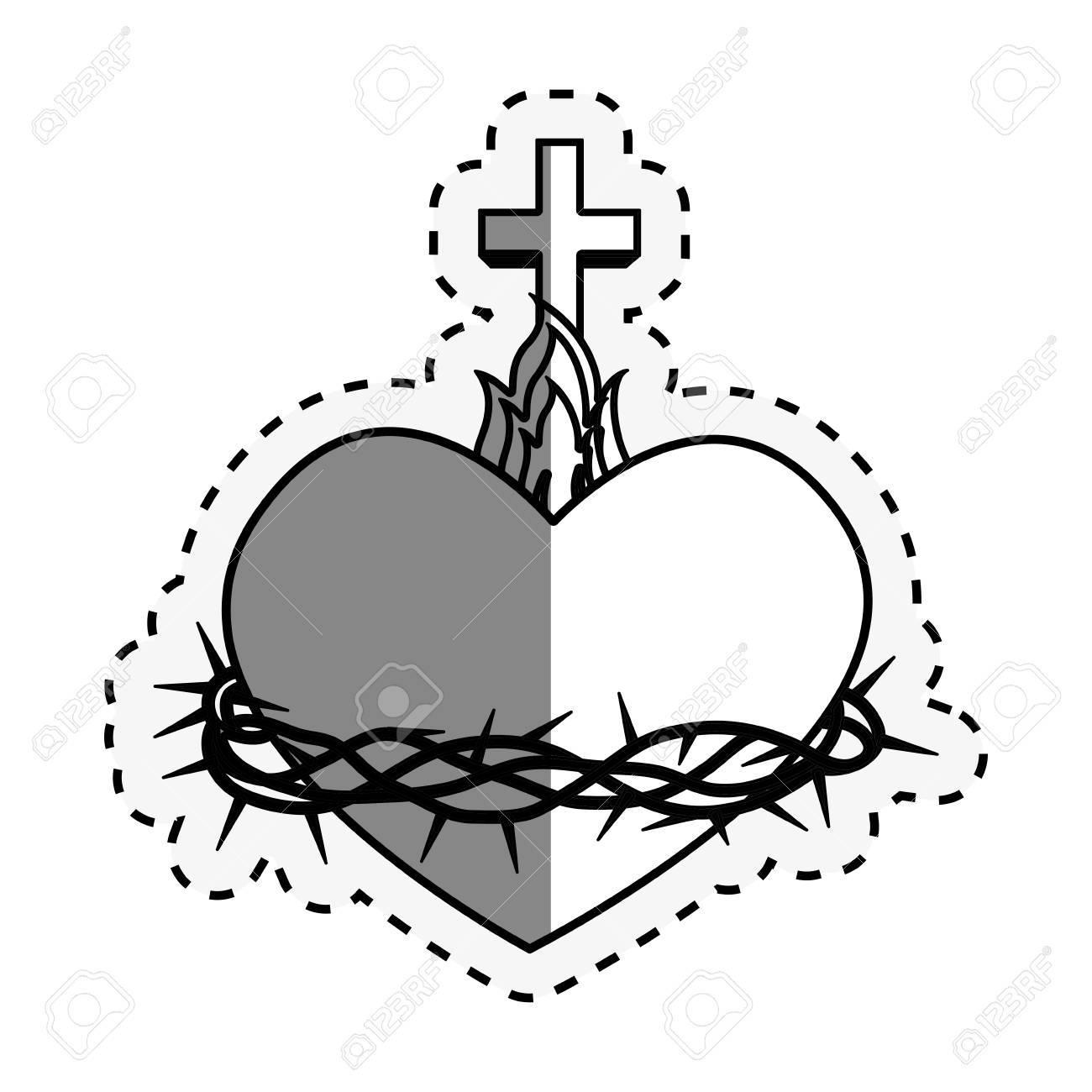 hight resolution of sacred heart of jesus vector illustration design stock vector 66752174