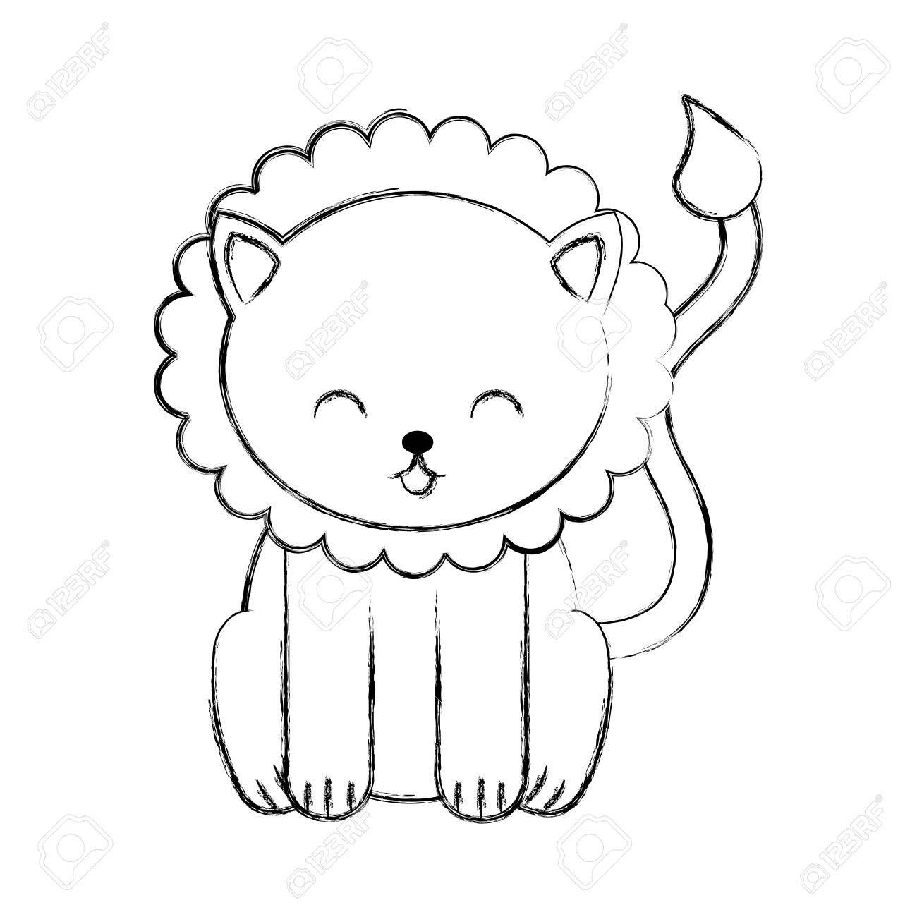 Cute Sketch Draw Lion Cartoon Graphic Design Royalty Free Cliparts Vectors And Stock Illustration Image 79178764