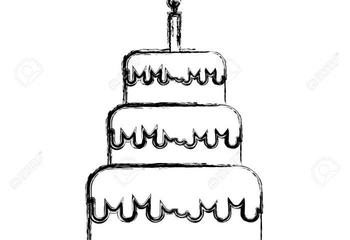 Sketch Draw Birthday Cake Cartoon Vector Graphic Design Royalty Free