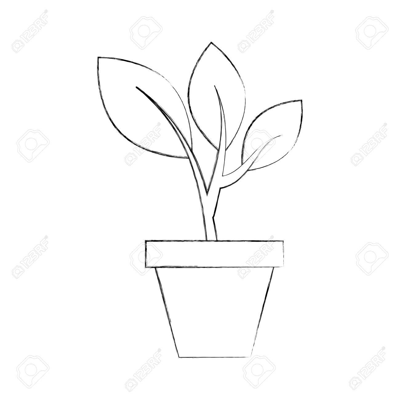 pousses de plantes qui poussent a partir de l illustration vectorielle de pot en ceramique concept