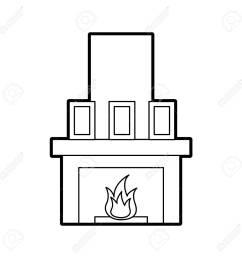 fireplace chimney flame indoor decoration vector illustration stock vector 85783259 [ 1300 x 1300 Pixel ]