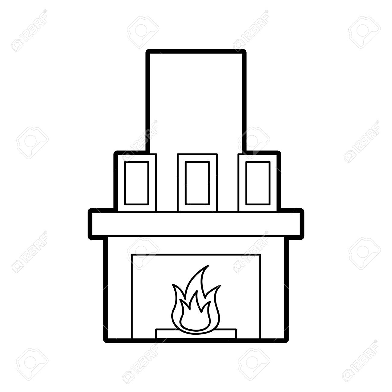 hight resolution of fireplace chimney flame indoor decoration vector illustration stock vector 85783259