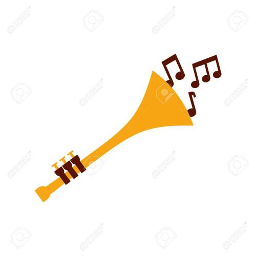 small resolution of trumpet notes wind musical instrument horn vector illustration stock vector 90294513