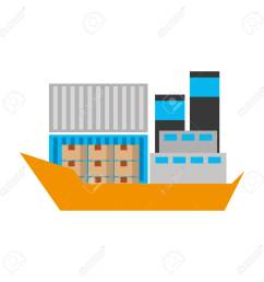 sea transportation logistic freight shipping cargo ship vector illustration stock vector 90305383 [ 1300 x 1300 Pixel ]